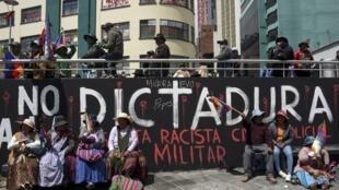 Les partisans de l'ex-président Evo Morales, lors d'une manifestation à La Paz, le 18 novembre 2019.