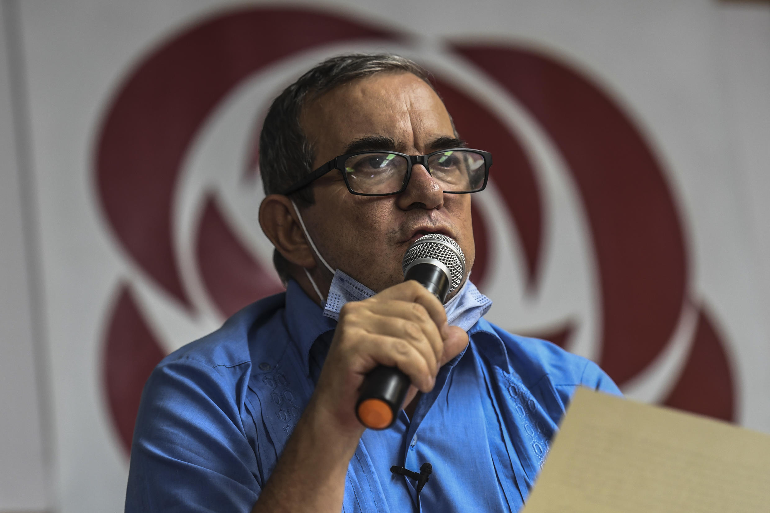 Head of Colombia's Common People's Party, Rodrigo Londono, pictured on January 24, 2021, was among the eight high-ranking members of Colombia's now-defunct FARC guerilla movement charged with war crimes