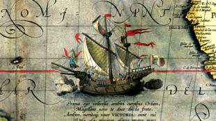«Виктория» — единственный вернувшийся корабль экспедиции Магеллана. Деталь карты Абрахама Ортелия.