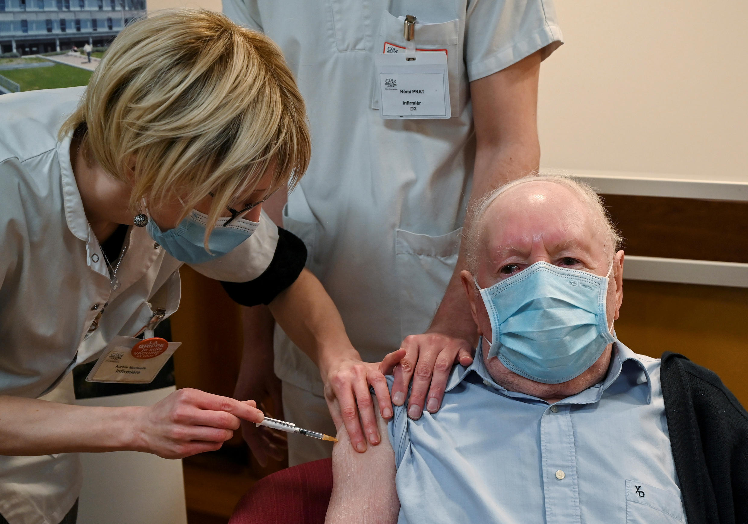Alain, 92, receives a dose of the Pfizer-BioNTech vaccine at the Champmaillot care home in Dijon on December 27, 2020.