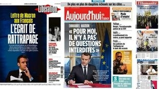 Some of today's French front pages on the presidential letter