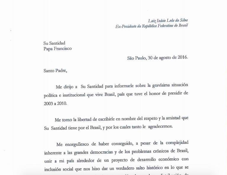 Imagem da carta do ex-presidente Lula recebida pelo Papa Francisco nesta sexta-feira (2).