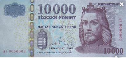 Un billet de 10 000 forint, la monnaie locale hongroise.