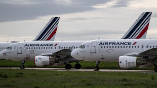 Air France planes sit at airport Charles de Gaulle, 30 April, 2020, outside of Paris, France.