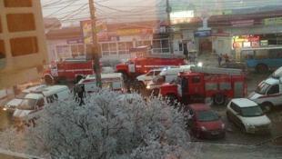 Место взрыва в волгоградском троллейбусе, 30 декабря 2013.