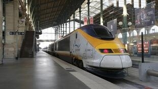 An idle high speed Eurostar train is seen at the Paris Gare du Nord train station after the suspension rail traffic due to smoke