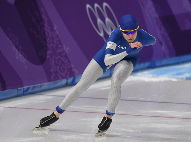 La Russe Natalia Voronina, lors de l'épreuve de 3000 mètres, du patinage de vitesse Dames à PyeongChang, le 10 février 2018.