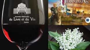 Jornadas do Livro e do Vinho em Saumur, Festa de Jeanne d'Arc em Orleans e comemorações do Dia do Trabalho.