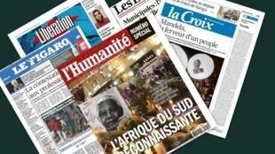 Capa dos jornais franceses, L'Humanité, Le Figaro, La Croix, Libération e Les Echos desta segunda-feira, 9 de dezembro.