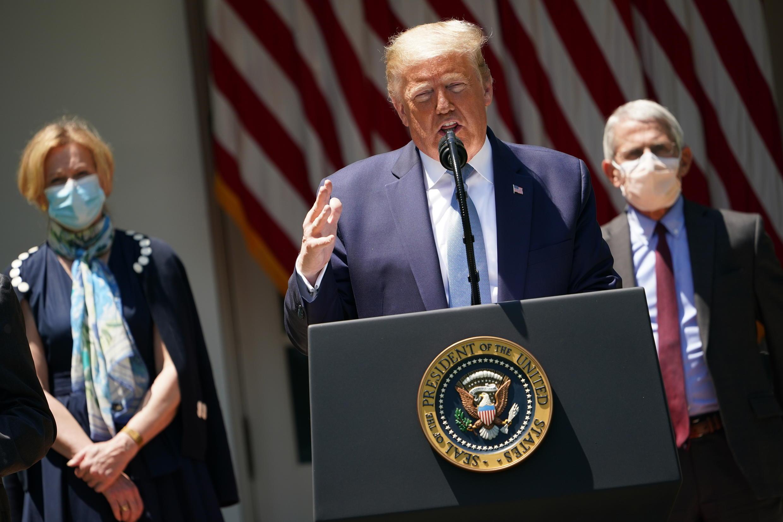 Tổng thống Trump đã ngừng các buổi họp báo về tình hình dịch Covid-19 tại Hoa Kỳ từ cuối tháng 6/2020. Ảnh chụp ngày  15/05/2020.