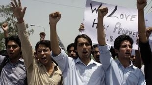 Pakistani students at a protest against Facebook in Lahore