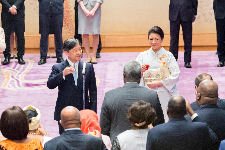 圖為日本德仁天皇和皇後舉行茶會招待出席第七屆非洲開發會議的首腦們2019年8月30日東京皇宮