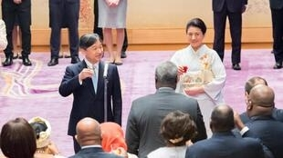图为日本德仁天皇和皇后举行茶会招待出席第七届非洲开发会议的首脑们2019年8月30日东京皇宫