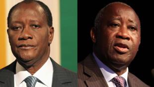 Le président sortant Laurent Gbagbo et l'ex-Premier ministre Alassane Ouattara.