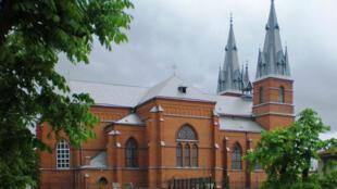 La Cathédrale du Sacré-Cœur-de-Jésus de Rēzekne, dans la région de Latgale, en Lettonie.