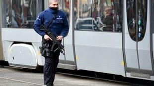 Police patrolling the centre of Brussels