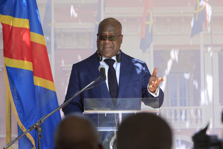 Conférence de presse du président congolais Félix Tshisekedi à Luanda le 5 février 2019.