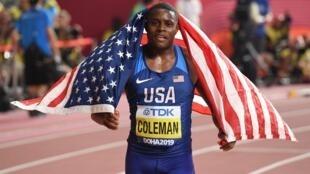 World 100m champion Christian Coleman