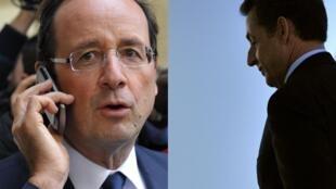 Nova pesquisa aponta queda no favoritismo de Hollande (esq.) e ligeira alta de Sarkozy (dir.).
