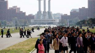 Vista de Monumento aos trabalhadores em Pyongyang