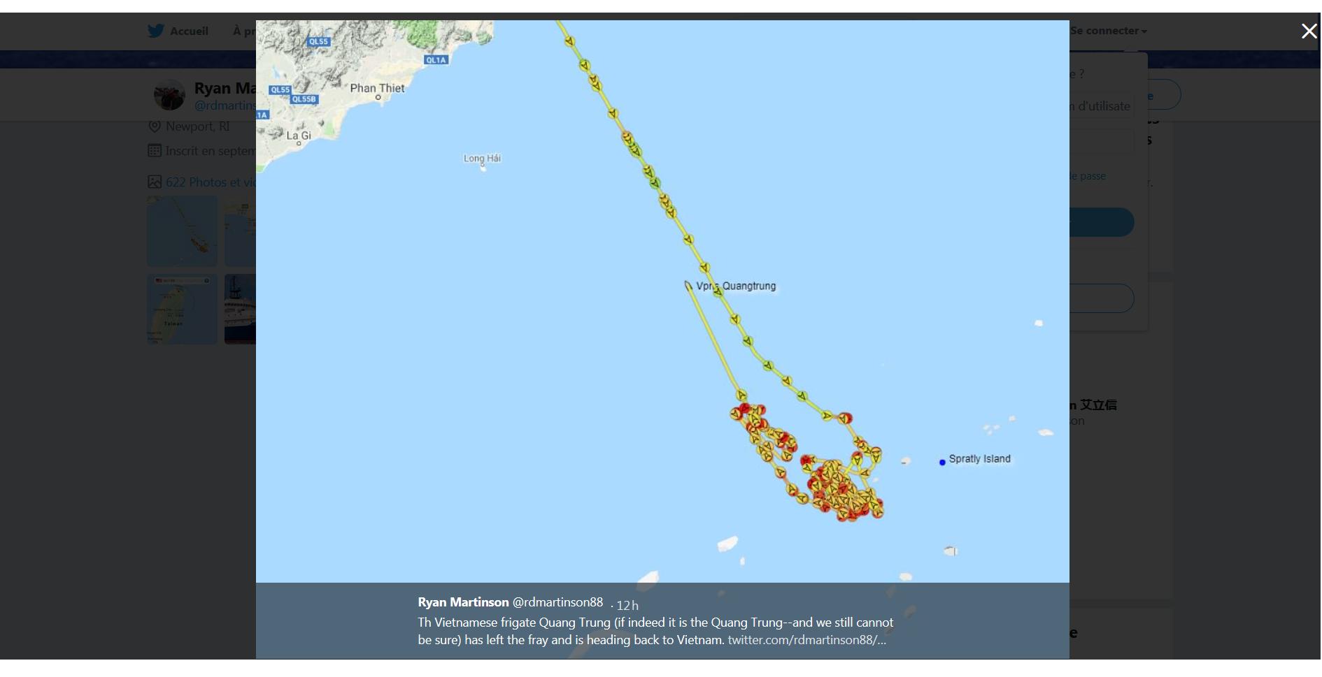 Thông tin trên Twitter ngày 22/08/2019 của giáo sư Ryan Martinson : Tàu khu trục Việt Trung (nếu thực sự là Quang Trung - và chúng tôi vẫn không thể chắc chắn) đã rời khỏi khu vực xung đột và đang quay trở lại Việt Nam. Ảnh chụp màn hình.