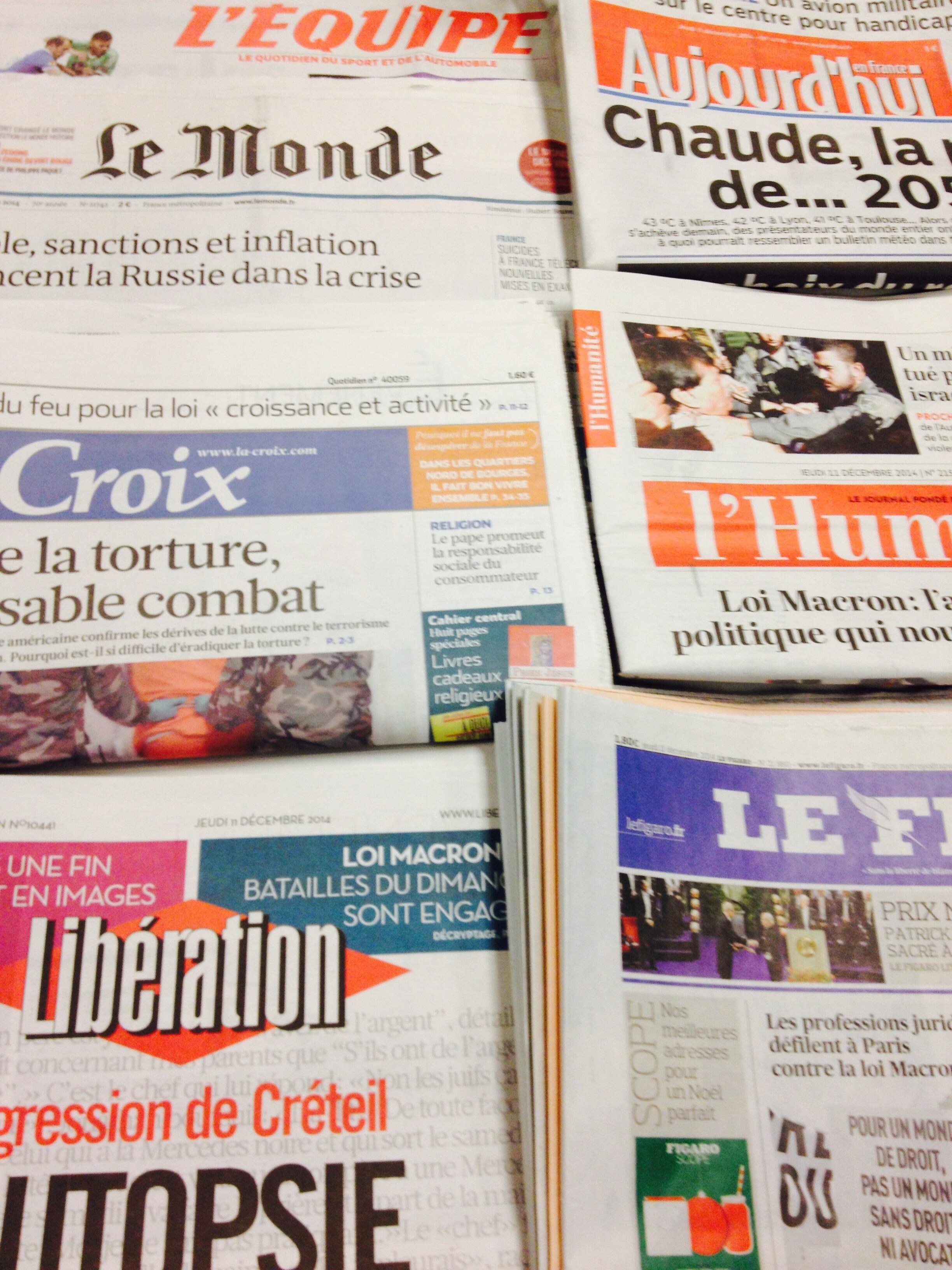 Primeiras páginas jornais 11/12/2014