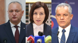 De gauche à droite : Igor Dodon, président moldave, Maia Sandu, du bloc ACUM, et Vladimir Plahotniuc, du parti démocrate PDM.
