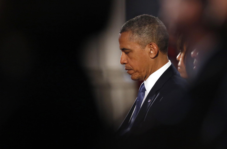Barack Obama, durante a cerimônia em homenagem às vítimas da maratona de Boston