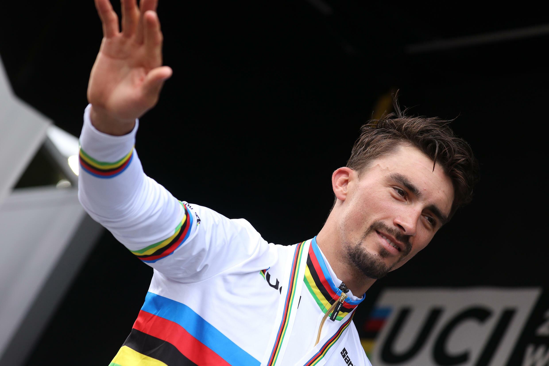 Julian Alaphilippe, sacré champion du monde de cyclisme sur route à Louvain, le 26 septembre 2021, ne participera pas à Paris-Roubaix