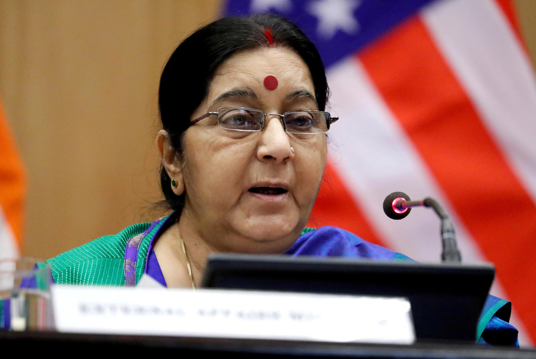 Image d'archive(存檔圖片): La ministre des Affaires étrangères indienne Sushma Swaraj, le 25 octobre 2017.