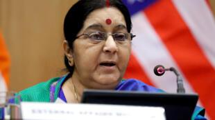 Ngoại trưởng Ấn Độ Sushma Swaraj. (Ảnh chụp ngày 25/10/2017)
