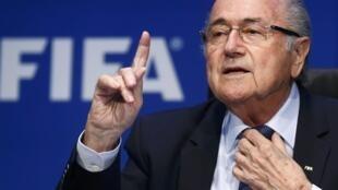 Joseph Blatter dit Sepp en conférence de presse à Zurich le samedi 30 mai 2015.