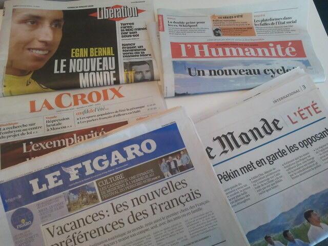 Primeiras páginas dos jornais franceses de 29 de julho de 2019