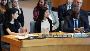 Amal Clooney, Nadia Murad y Denis Mukwege tomaron la palabra en la reunión en Naciones Unidas, Nueva York, este 23 de abril de 2019.