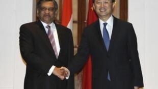 中國外長楊潔篪訪問印度 會見印度外長克里希納   2012年3月1日新德里
