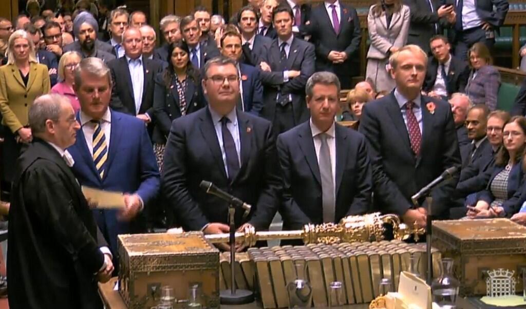 Ảnh chụp qua màn hình : Nghị Viện Anh công bố kết quả bỏ phiếu thông qua bầu cử trước thời hạn, Luân Đôn, ngày 30/10/2019.