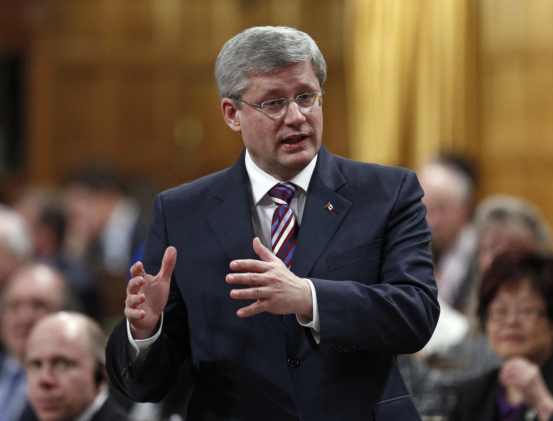 O primeiro-ministro do Canadá, Stephen Harper, crítico do Protocolo de Kyoto.