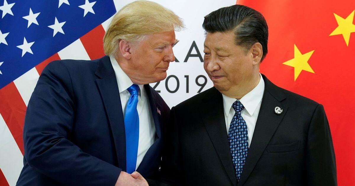美国总统特朗普与中国国家主席习近平在日本大阪G20峰会资料图片