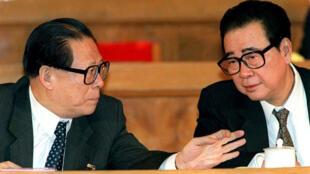 江澤民與李鵬,1997年3月2日在全國人大會上。