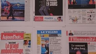 Primeiras  páginas  de  diários  franceses  21  07 2020