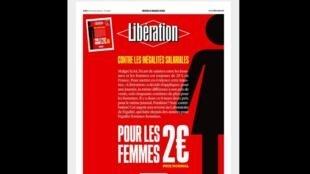 As mulheres que comprarem a edição do jornal Libération desta quinta-feira (8) terão um desconto de 25%.