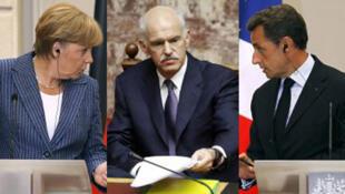 German Chancellor, Angela Merkel, Prime Minister George Papandreou and French President Nicolas Sarkozy.