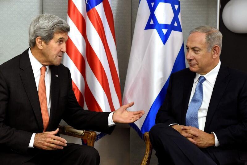 9月23日,克里与以色列总理内塔尼亚胡会谈。