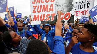 Protests against President Jacob Zuma in Johannesburg on 7 April 2017.