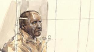 Dessin représentant l'accusé Pascal Simbikangwa lors de l'audience du 4 février 2014 à Paris.