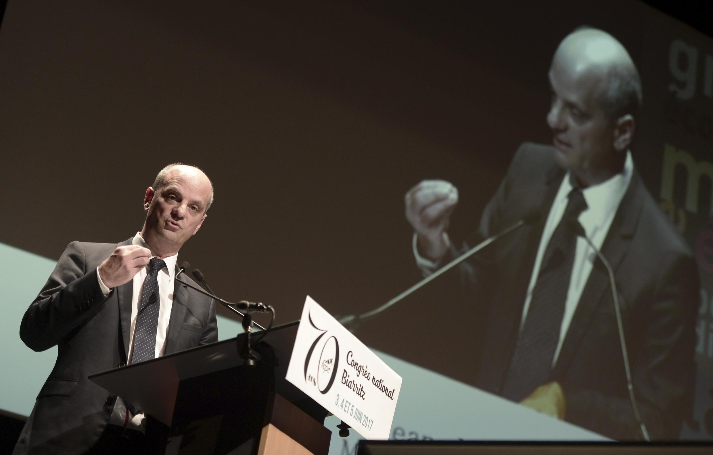 French Minister of National Education Jean-Michel Blanquer delivers a speech during the 70th Congress of the Federation of parents of pupils (FCPE - Federation des Conseils de Parents d'Eleves) in Biarritz on June 3, 2017