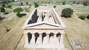 This aerial view shows The Second Temple of Hera also known as Temple of Neptune at Paestum near Naples, site of an ancient Greek colony dating back to the 6th century BC.