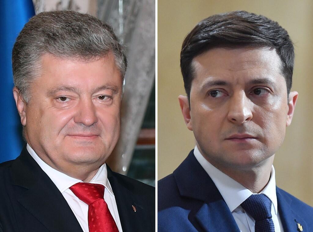 Les Ukrainiens de Russie ne pourront pas choisir entre les candidats à la présidence: le président sortant Petro Porochenko (ici le 3 novembre 2018) et le comédien Volodymir Zelensky (ici le 6 mars 2019). (Photo d'illustration)