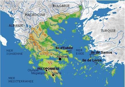 Au large de la Grèce et de la Turquie, la mer Egée et les îles de Leros, Samos, et d'Eubée.