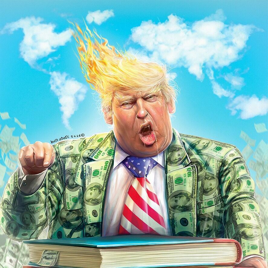 Hadi Asadi a gagné le premier prix du concours de caricature sur Donald Trump organisé en Iran.